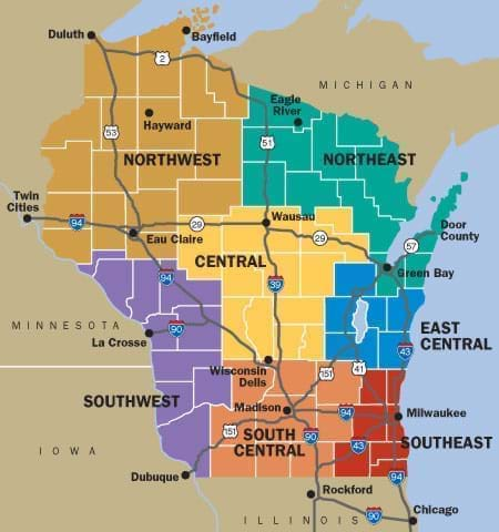Wi cities and regions tour by area travel wisconsin for Southern wisconsin fishing resorts