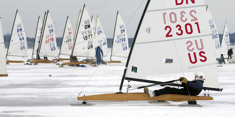 ICEBOATING AT MADISON WISCONSIN ICEBOAT SAIL REGATTA ON LAKE MENDOTA SKATING