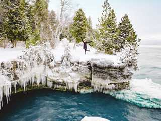 Find Winter Adventure at Cave Point's Ice Formations
