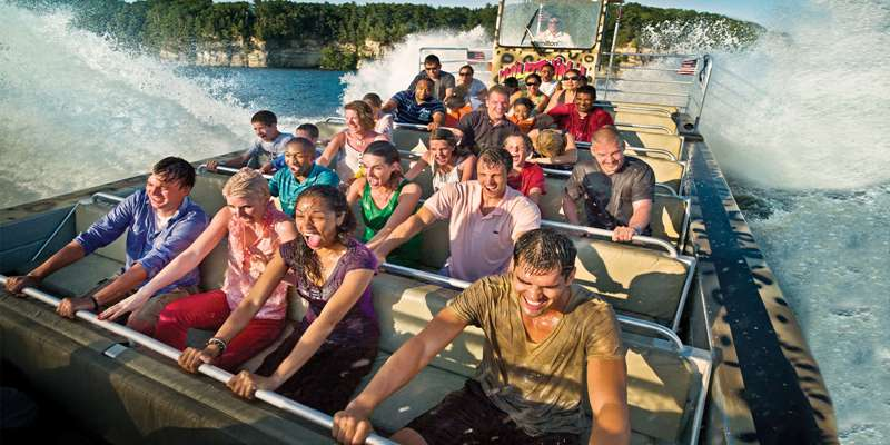 The Jet Boat Journey creates sprays of water and generates cheers and laughter from riders.