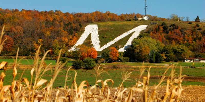 "The world's largest ""M"" symbolizes Platteville's mining history."