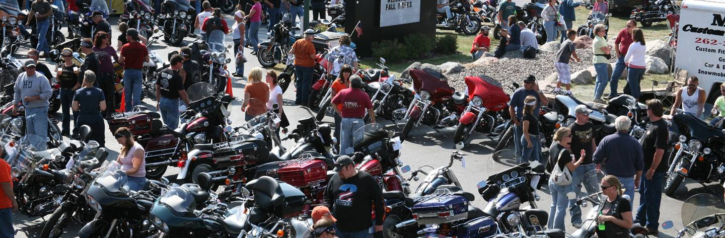 Fall Riders gather at the Northern Lights Harley-Davidson.