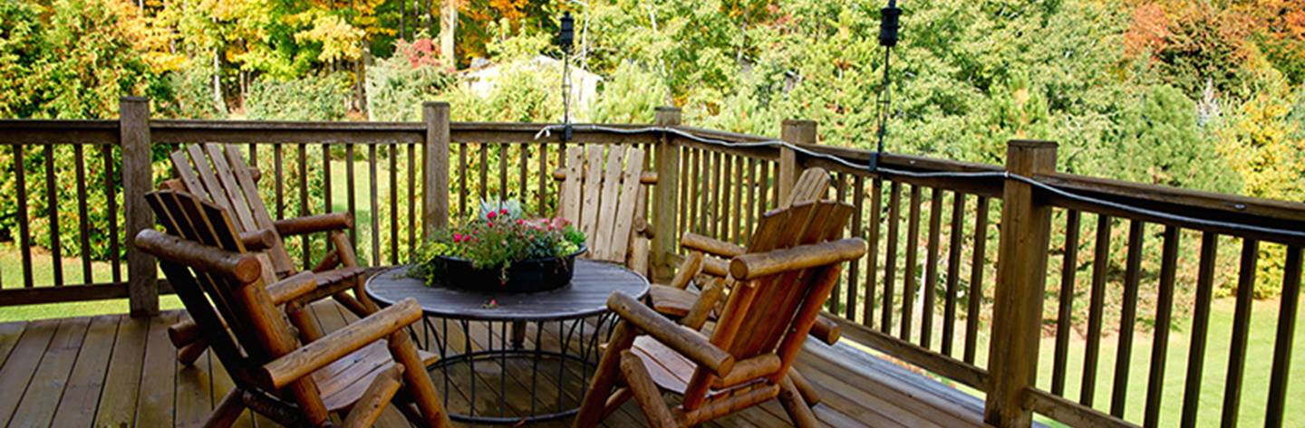A balcony overlooking the fall colors at Tauschecks Bed and Breakfast.