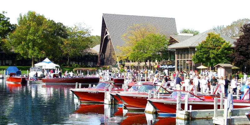 The Abbey's lakeside marina is the setting for the Antique and Classic Boat Show.
