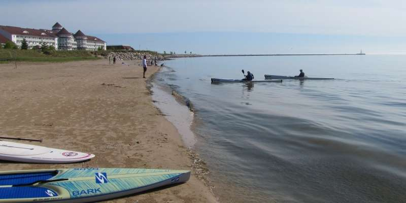 A calm day on Lake Michigan is a kayaker's paradise.
