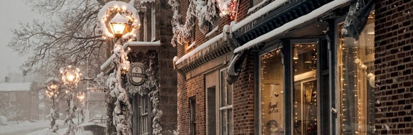 Snow decorates the store fronts of Mineral Point's historic downtown.