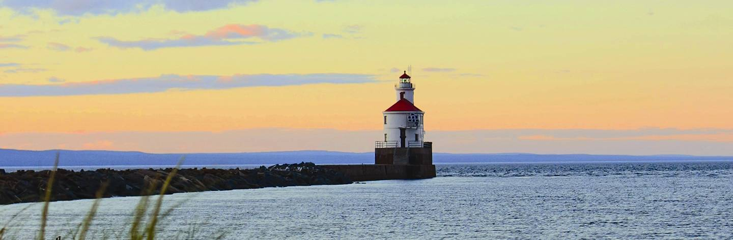 The Superior Entry Lighthouse on Wisconsin Point is a popular site for beachgoers. Photo by Megan Wilson.