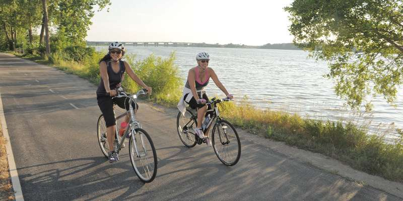 Biking the Fox River Trail.