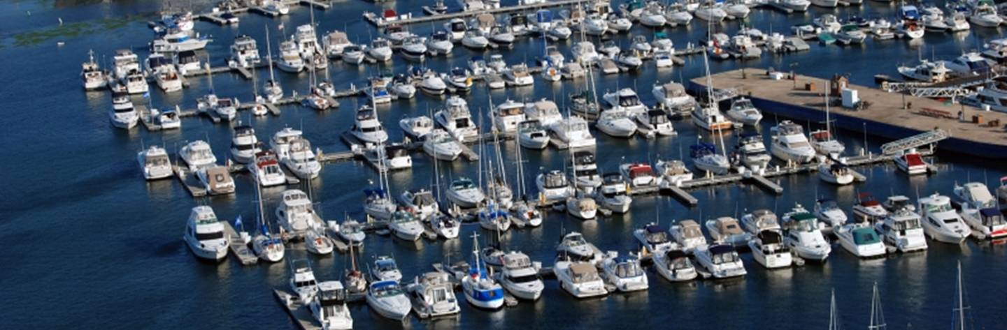 Dozens of boats are parked in their slips at the Sturgeon Bay Marina.