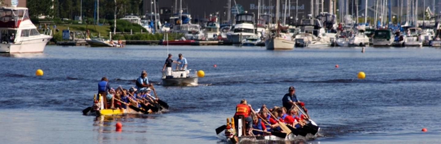 Dozens of paddlers compete in the Lake Superior Dragon Boat Festival.