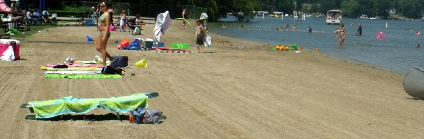 Beachgoers soak up the sun at Ripley Park Beach. One of Wisconsin's cleanest public beaches.