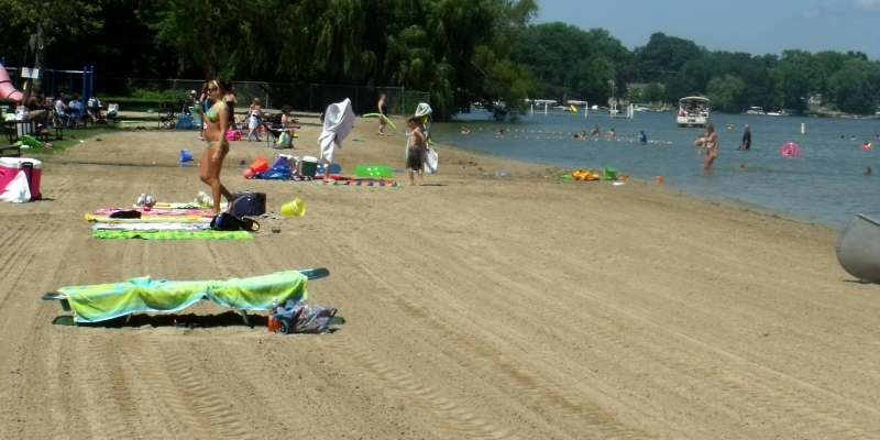 Beachgoers soak up the sun at Ripley Park Beach.
