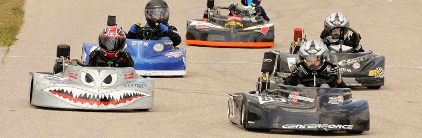 Go kart drivers zoom around the race track. Photo provided by: Mary Schill.