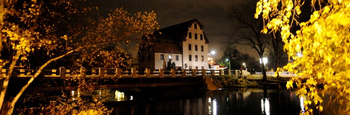 The historic Cedarburg Mill at night.