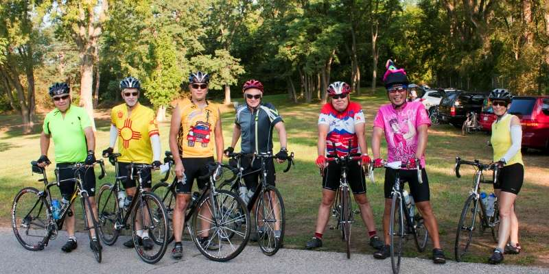 Bikers enjoy a group ride organized by the Cambridge Community Activities Program on one of the scenic area bike trails.