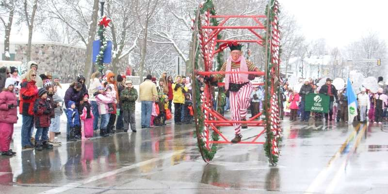 Thousands attend the christmas parade to see the many floats bands