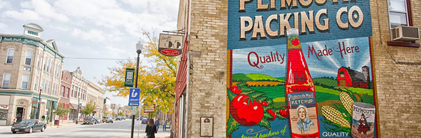 Plymouth Packing Co. mural in downtown Plymouth.