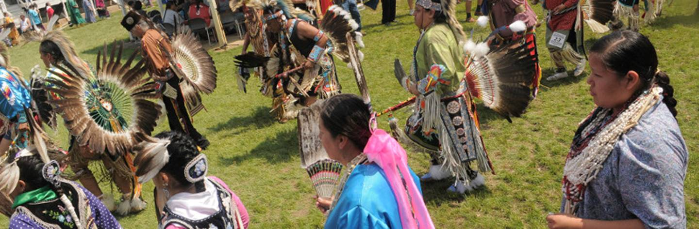 Native American dancers at Ho-Chunk Pow wow in Black River Falls.