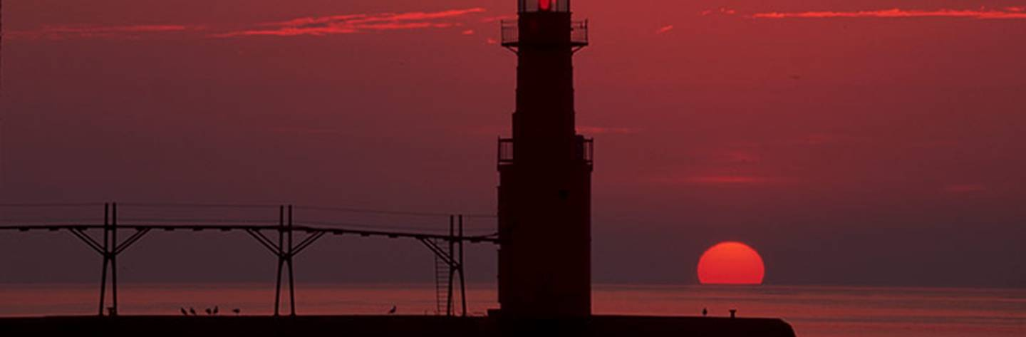 Algoma Lighthouse at sunrise.