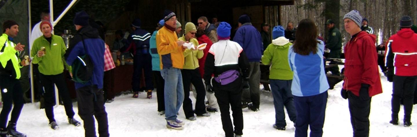 Skiers gather at the Lauterman Cross Country Ski Trail