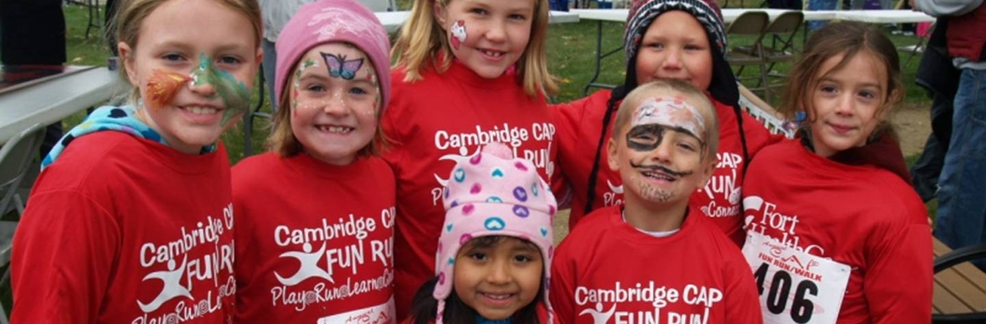 Caps Kids Fun Run participants are all smiles as they show off their painted faces. Just one of the many festivals and events held in Cambridge.