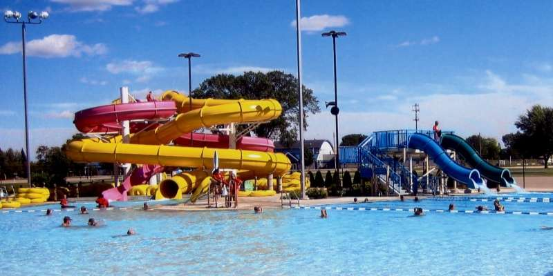 Swimmers cool off on a hot day at Fairgrounds Family Aquatic Center and Waterpark.