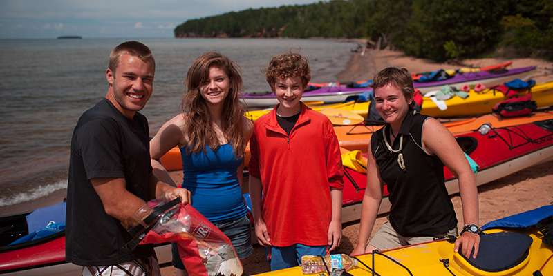 Kayakers before launch in the Apostle Islands National Lakeshore.
