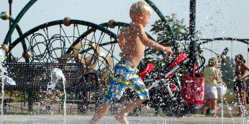 Splash pad at Conservancy Place Park.