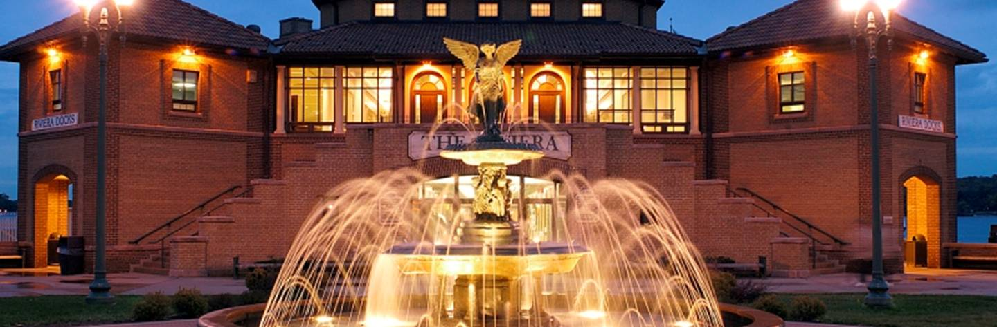 The Riviera fountain all lit up is a beautiful evening display.