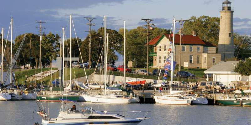 Boats are parked in the harbor in Kenosha, located on Lake Michigan's shore just north of the Illinois border.