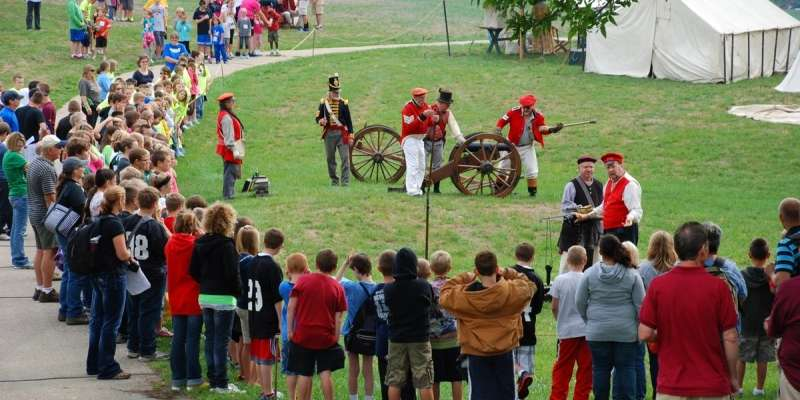 Students gather to watch the historic reenactment during Student Days.
