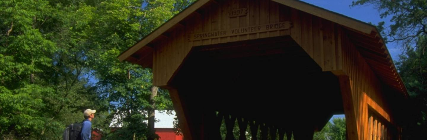 You can find this covered bridge in Saxeville.