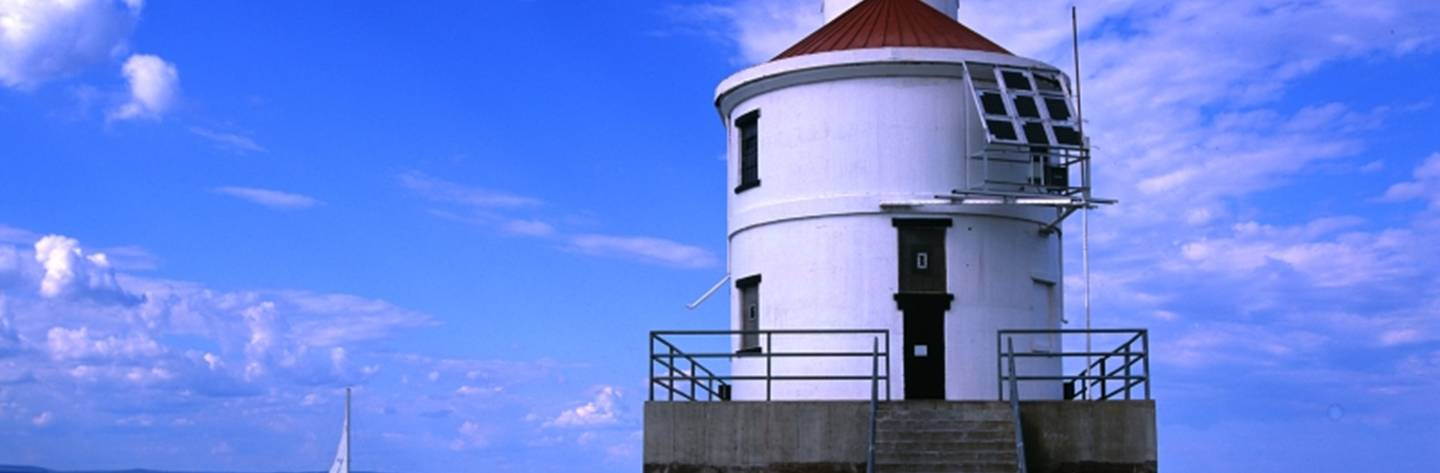 Wisconsin Point Lighthouse is located at the west pierhead entrance to Superior harbor.