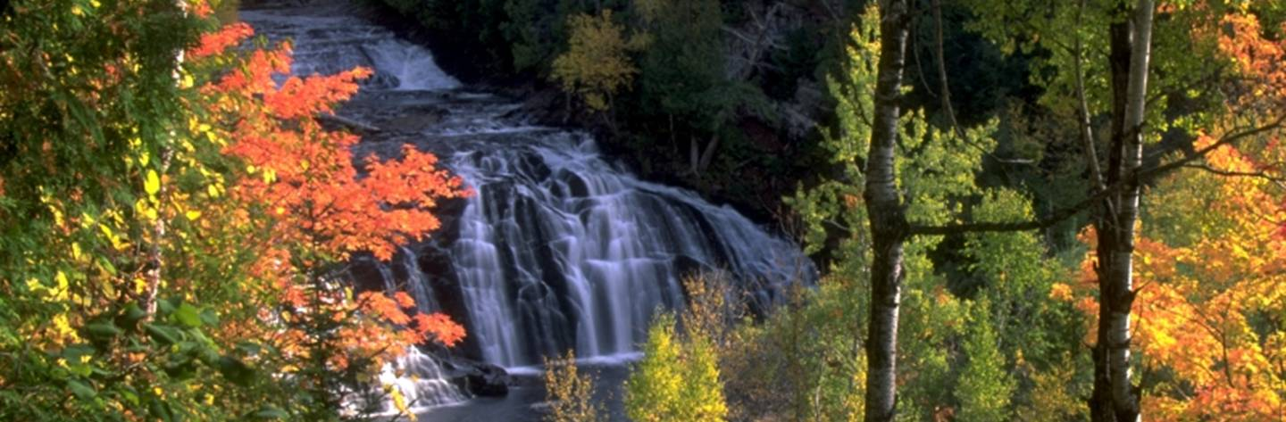 Potato River Falls, one of the most beautiful falls in the Midwest, drops 90 feet into the Potato River southwest of Gurney.