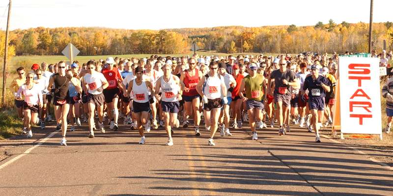The CenturyLink WhistleStop Half-Marathon start takes place out in rural Moquah.
