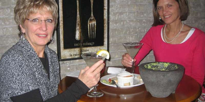 Ladies enjoying appetizers at a local restaurant