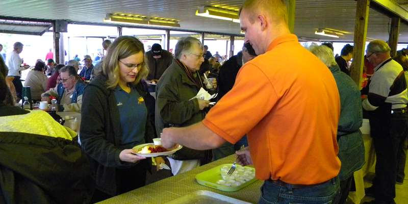 Serving up some delicious food at the Tri-County Dairy Breakfast!