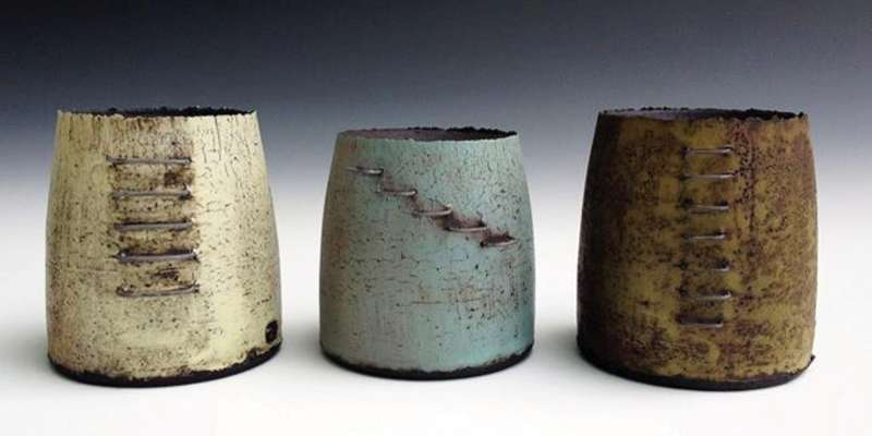 Wood fired pottery by Mike Gesiakowski, guest artist at the Mill Creek Pottery Studio.