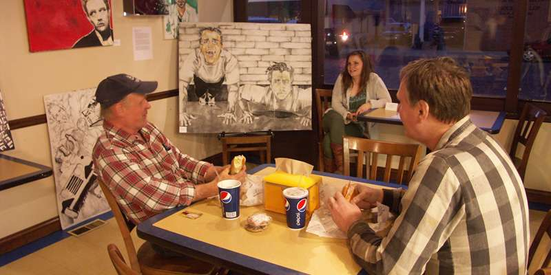 Numerous downtown businesses in Evansville host art and artists for the Art Crawl.  Photo by Kelly Gildner.