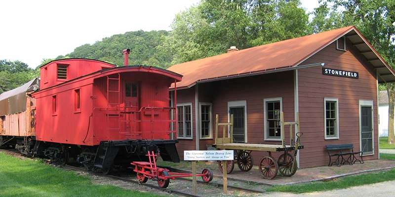The Stonefield railroad depot and caboose