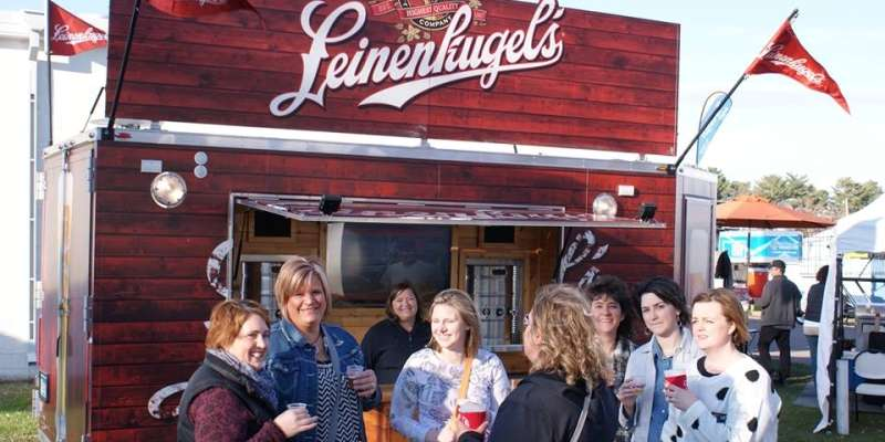 Enjoying a Leinenkugel with friends.