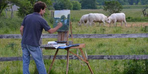 James Hemple of Milwaukee paints rural Ozaukee County as part of the 2016 Cedarburg Plein Air Painting Event.