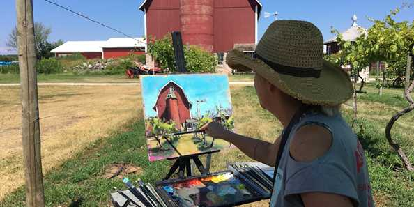 Wisconsin Artist Shelby Keefe on location in Fish Creek
