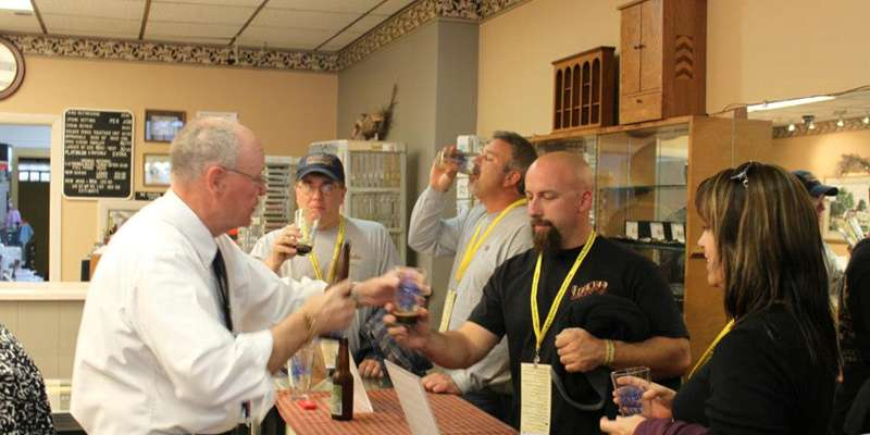 Baraboo merchant offers beer samples.