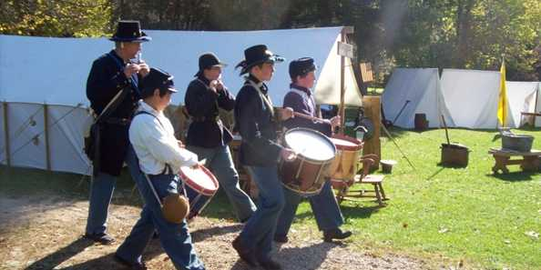 Walk through the camp of the re-enactors.