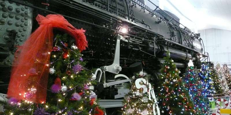 Decorated trees for the Festival of Trees event at the National Railroad Museum.
