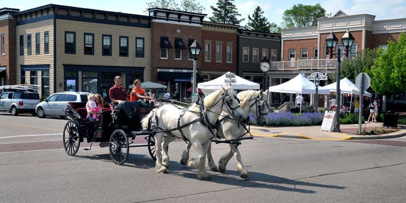 Enjoy a horse and carriage ride through the charming streets of Downtown Delafield.