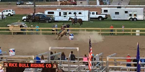 Competing in barrel racing at the 2017 Northwood Triple Challenge