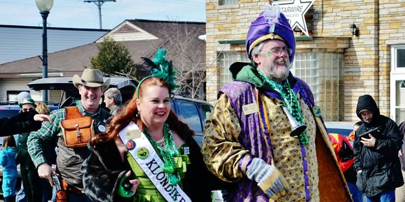 The 2014 St. Paul Winter Carnival's Klondike Kate attends the Siren St. Pat's Parade.