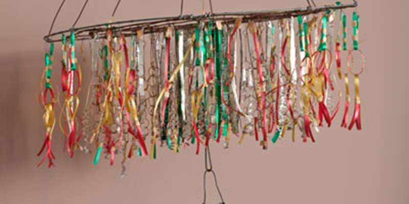 "Emery Blagdon: ""The Healing Machine"" (untitled individual component); plastic beads, wire, mixed media. John Michael Kohler Arts Center Collection."